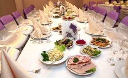 Food at banquet table. Wedding royalty free stock image