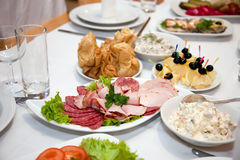 Food at banquet table. Wedding stock photography