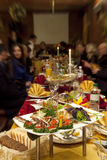 Food at banquet table. In a restaurant stock photos