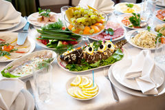 Food at banquet table Royalty Free Stock Photo