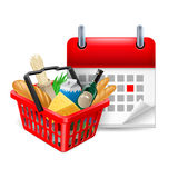 Food basket and calendar Stock Photography