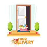 Food in basket in front of the door. delivery food service conce. Pt. e-commerce - vector illustration Stock Photography