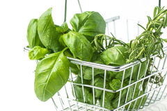 Food basket of herbs Royalty Free Stock Photo