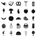 Food basket icons set, simple style Royalty Free Stock Photography