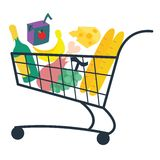 Food basket. Vector illustration on different layers, suitable for animation Stock Image