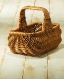 Food basket on wooden table. Image of food basket on wooden table Stock Images
