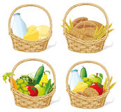 Food baskets  Royalty Free Stock Photos