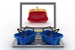 Food baskets and laptop with a purse for money Royalty Free Stock Images