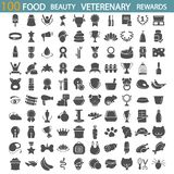 Food. Beauty. Veterenary shop. Rewards and medals simple icons set