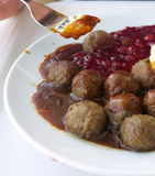 Food being eaten. Dinner meatballs with potatoes. Stock Image