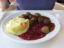 Food being eaten. Dinner meatballs with potatoes. Royalty Free Stock Photography