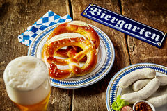 Food and beverage in a beer garden at Oktoberfest Royalty Free Stock Image