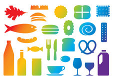 Food & beverage colorful icons vector. 25 casual food and beverage icons including vegetable, chips, different kinds of biscuit, breads and cake, fish, hot dog stock illustration