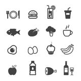 Food and beverage icons. Mono symbols vector illustration