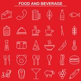 Food and beverage linear icon style. The food and beverage linear icon style Stock Images