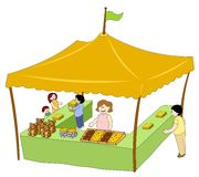 Food & Beverage Tent. Food and beverage booth in a children's fun day Royalty Free Illustration