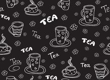 Food and beverage vector seamless pattern with tea cups and the words, `handwritten by chalk on grey board` effect royalty free stock photography