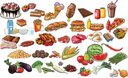 Food and beverages. Vector illustrated collection of food and beverages Royalty Free Stock Photography