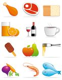 Food and beverages icons. Set of food and beverages icons Royalty Free Stock Photos