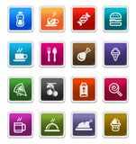 Food & Beverages Icons - sticker series. Food & Beverages Sticker Icons isolated over white background - sticker series royalty free illustration