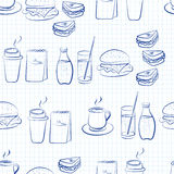 Food and beverages linear design Royalty Free Stock Photo