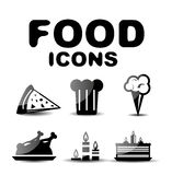 Food black glossy icon set Stock Photos