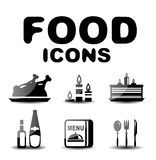 Food black glossy icon set. Food vector black glossy icon set Royalty Free Stock Photography