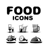 Food black glossy icon set Stock Images