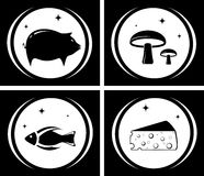 Food black icons set Royalty Free Stock Photos