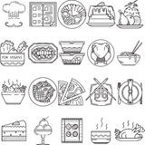 Food black line icons. Set of 20 black flat line icons for restaurant or cafe food on white background Royalty Free Illustration