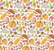 Food. Black and white seamless pattern in Doodle and cartoon style. Color. Vector. EPS 8 Royalty Free Stock Image