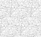 Food. Black and white seamless pattern in Doodle and cartoon style. Outline. Vector. EPS 8 Stock Image