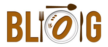 Food Blog. The text BLOG with O as food plate element vector illustration