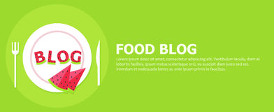 Food blog banner. Plate with letters from watermelon and the word Blog Royalty Free Stock Photos