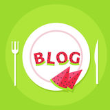 Food blog banner. Plate with letters from watermelon and the word Blog Royalty Free Stock Photo
