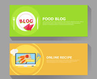 Food blog and online recipe banner. Vector flat illustration Stock Images