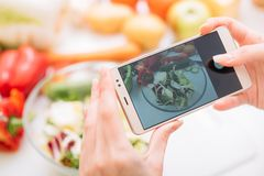 Food blogger mobile photo online recipe lifestyle. Food blogger taking mobile photo of prepared meal. Online cooking recipes and healthy lifestyle royalty free stock images