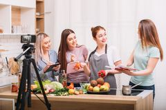 Food blogger teach healthy diet culinary courses royalty free stock photography