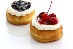 Food blueberry and cherry fruit donut Stock Image