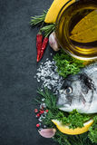 Food border background, sea fish Royalty Free Stock Photos