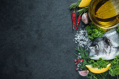 Food border background, sea fish Royalty Free Stock Images