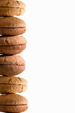 Food border of stacked fresh macaroons Stock Images