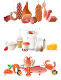 Food borders. Meat, diary products and seafood borders Royalty Free Stock Photography
