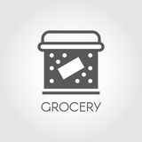 Food box flat icon. Cookery concept. Simple logo or button for cooking theme. Vector illustration Stock Photo