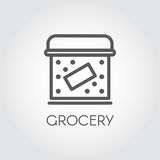 Food box line icon. Grocery concept. Cookery simplicity pictograph. Vector illustration Royalty Free Stock Photography
