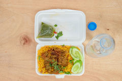 Food box on wood Royalty Free Stock Images