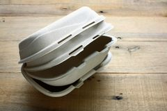 Food Boxes. On Wooden Background royalty free stock photo