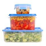 Food boxes storage. Isolated on white Royalty Free Stock Image