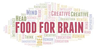 Food For Brain word cloud. Wordcloud made with text only stock illustration
