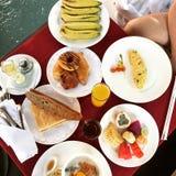 Food Breakfast Arrangment. Coffee Bread Tea Chocolate Stock Images